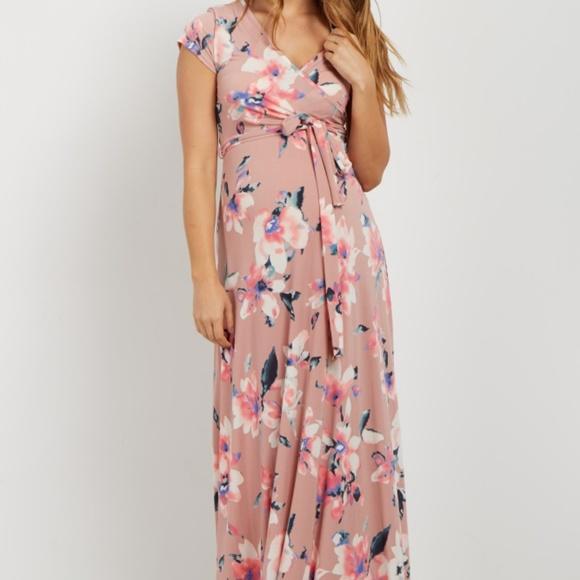 6d283917b711a PinkBlush • NWT Floral Maternity Maxi Dress